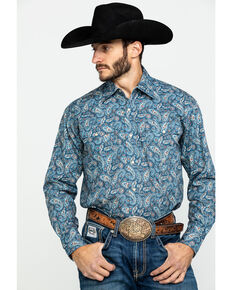 Roper Men's Blue Amarillo Normandy Paisley Print Long Sleeve Western Shirt , Blue, hi-res