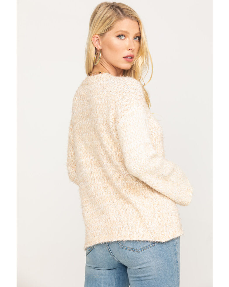 Miss Me Women's Ivory Fuzzy Pullover Sweater, Ivory, hi-res