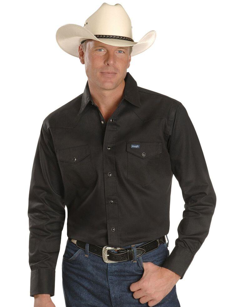 Wrangler Men's Solid Cowboy Cut Firm Finish Long Sleeve Work Shirt, Black, hi-res