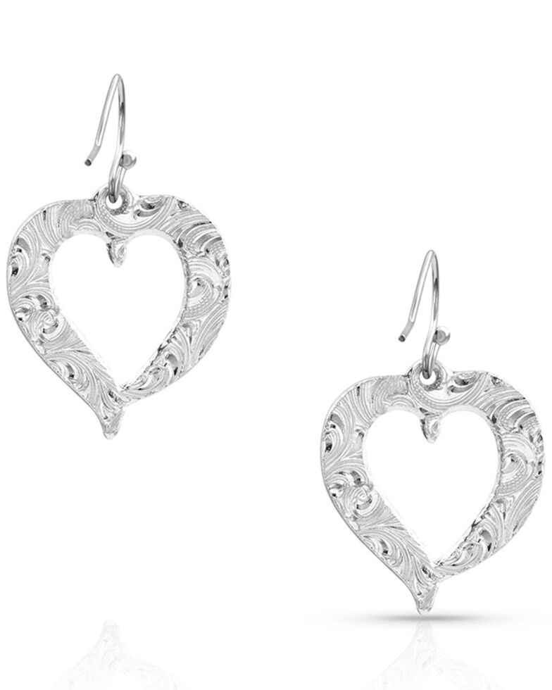 Montana Silversmiths Women's Hearts Aflutter Feather Earrings, Silver, hi-res