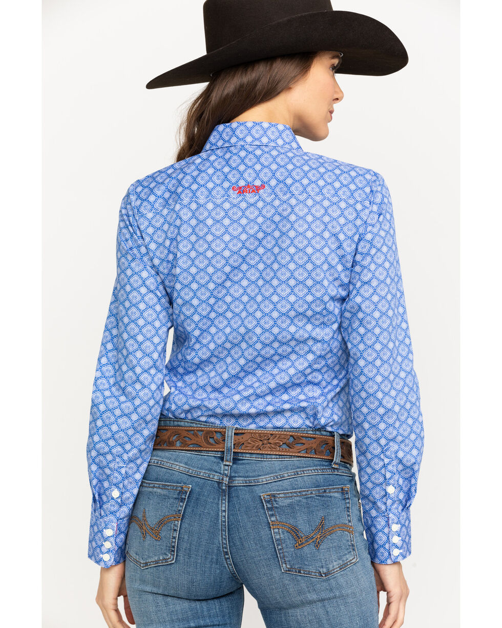 Ariat Women's Kirby Stretch Amparo Print Long Sleeve Western Shirt , Light Blue, hi-res