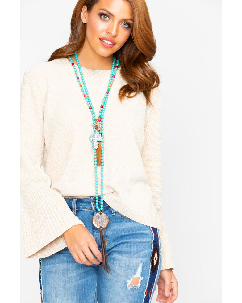 Elan Women's Natural Chenille Bell Sleeve Sweater, Natural, hi-res