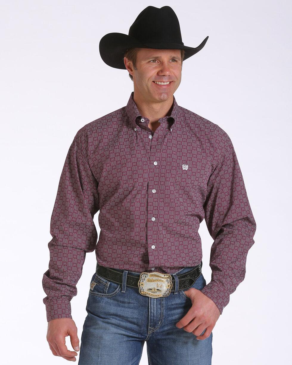 Cinch Men's Basketweave Pattern Long Sleeve Shirt, Burgundy, hi-res