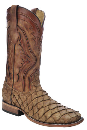 Corral Pirarucu Fish Cowboy Boots - Wide Square Toe, Antique Saddle, hi-res