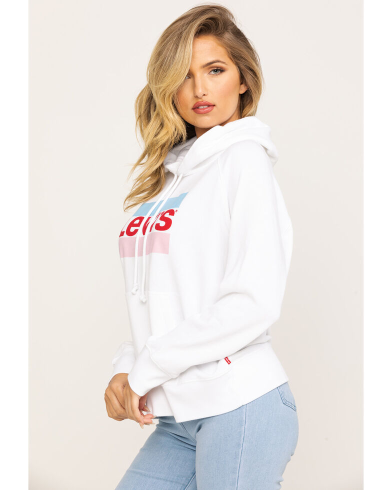Levi's Women's Batwing Logo Fleece Hoodie, White, hi-res