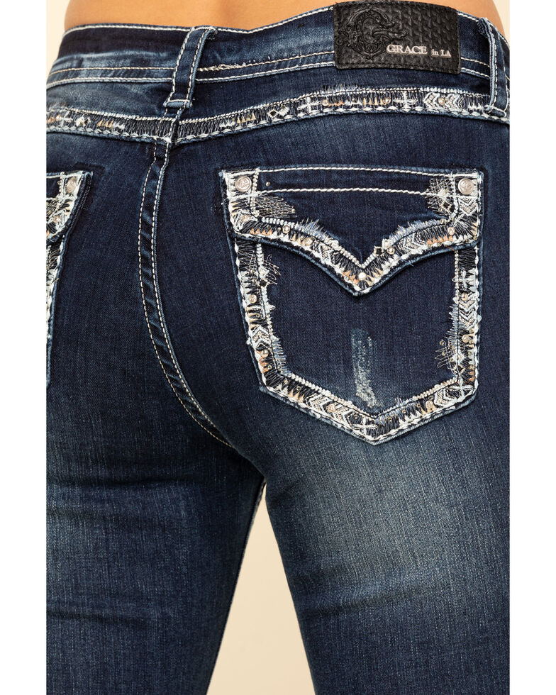 Grace in LA Women's Dark Wash Curved Embellishment Bootcut Jeans , Blue, hi-res