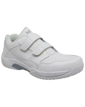 Ad Tec Men's Athletic White Adjustable Strap Uniform Work Shoes - Round Toe, White, hi-res