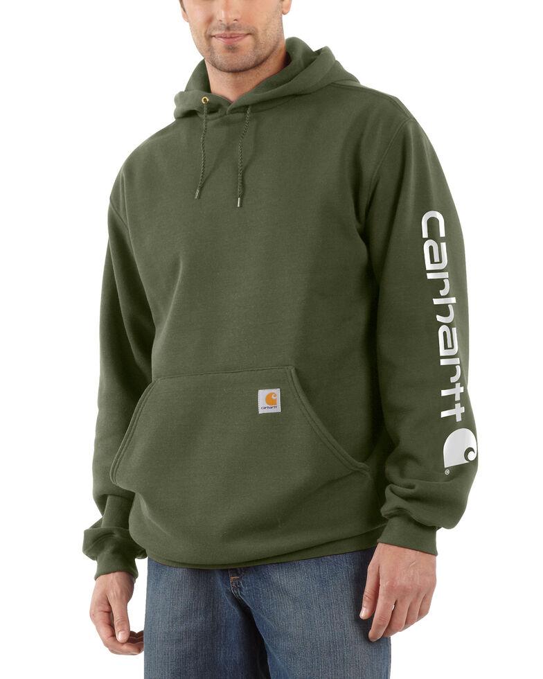 Carhartt Logo Hooded Sweatshirt, Moss Green, hi-res