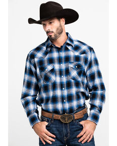 Ely Cattleman Men's Blue Large Plaid Woven Long Sleeve Western Flannel Shirt - Big , Blue, hi-res
