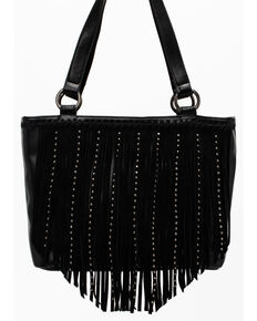 Shyanne Women's Black Fringe Tote Bag, Black, hi-res