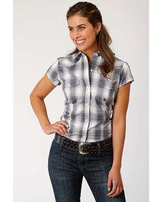 Amarillo Women's Grey Plaid Button Short Sleeve Western Shirt, Grey, hi-res