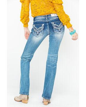 Grace In LA Women's Light Low Rise Boot Jeans , Blue, hi-res