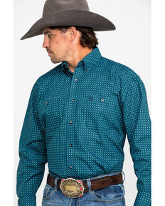 George Strait by Wrangler Men's Green Geo Dot Print Long Sleeve Western Shirt , Green, hi-res