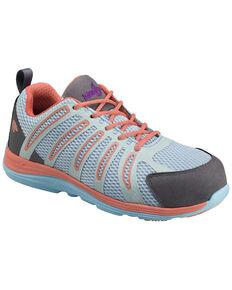 Nautilus Women's Teal, Orange & Grey Wedge Sole Work Shoes - Composite Toe , Blue, hi-res