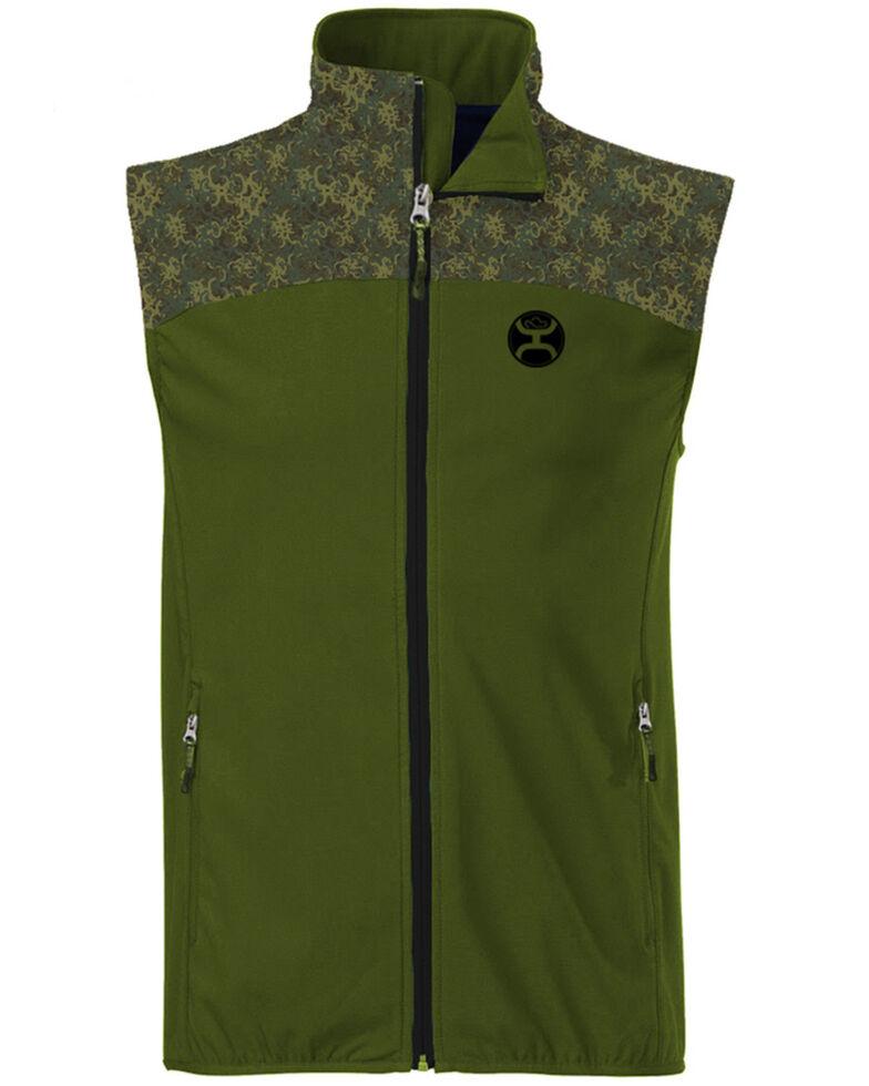 HOOey Men's Green Softshell Zip-Front Vest , Olive, hi-res