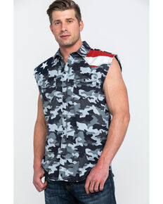 Cody James Men's Grey Camo Bubba Flag Yoke Sleeveless Western Shirt , Grey, hi-res