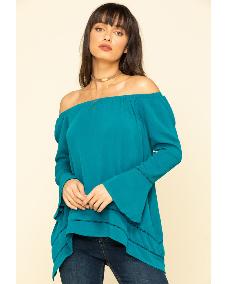 Wrangler Women's Teal Off Shoulder Bell Sleeve Peasant Top, Teal, hi-res