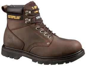 """Caterpillar 6"""" Second Shift Lace-Up Work Boots - Steel Toe, Dark Brown, hi-res"""