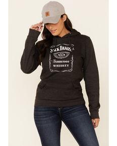 Jack Daniel's Women's Charcoal Logo Pullover Hoodie , Charcoal, hi-res