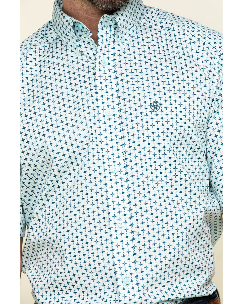 Ariat Men's Reedley Stretch Geo Print Short Sleeve Western Shirt , Turquoise, hi-res
