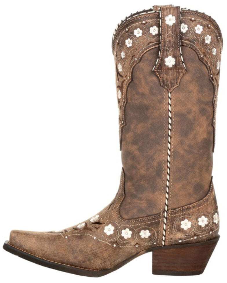 Durango Women's Driftwood Floral Western Boots - Snip Toe, Brown, hi-res