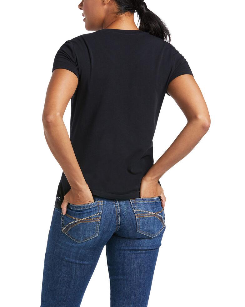 Ariat Women's Black Authentic Logo Short Sleeve Tee , Black, hi-res