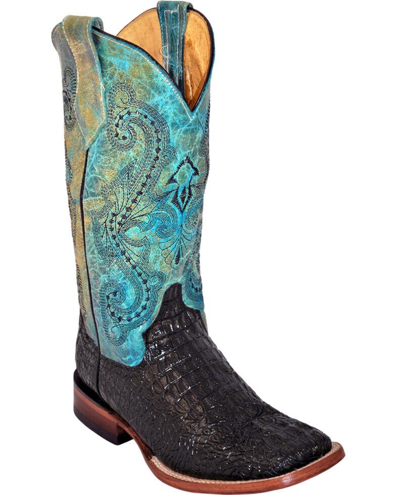 Ferrini Women's Black Caiman Print Cowgirl Boots - Square Toe, Black, hi-res