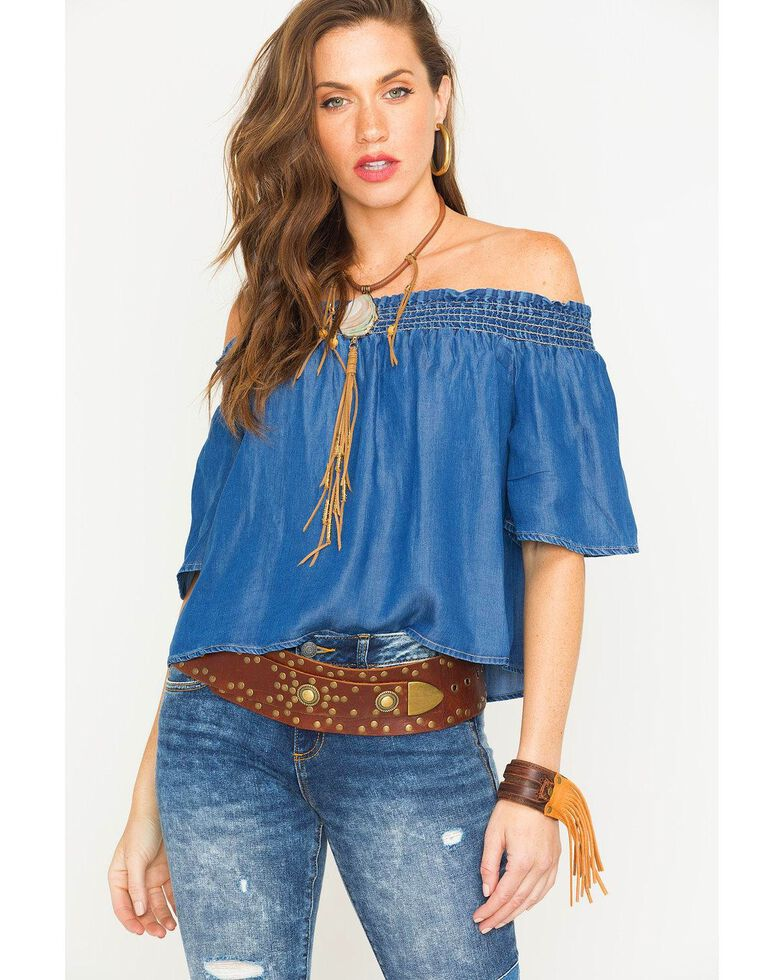 15ad2766d099b3 Glam Women s Indigo Smocked Off The Shoulder Top - Country Outfitter