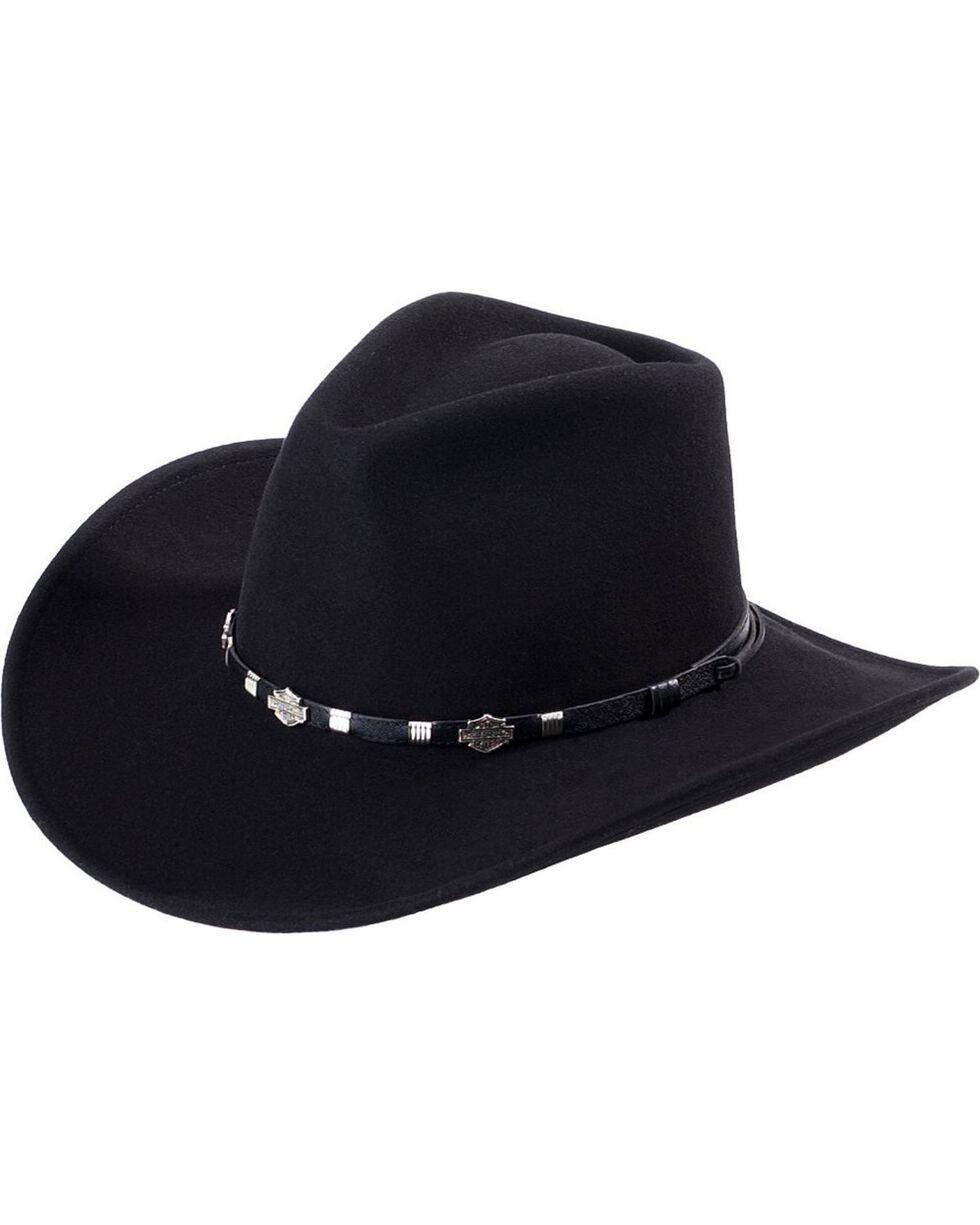 Harley Davidson Wool Felt Hat, Black, hi-res