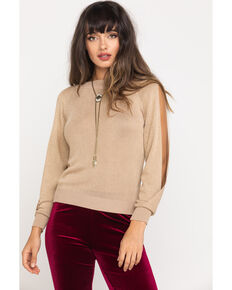 Molly Bracken Women's Gold Slit Sleeve Sweater, Gold, hi-res