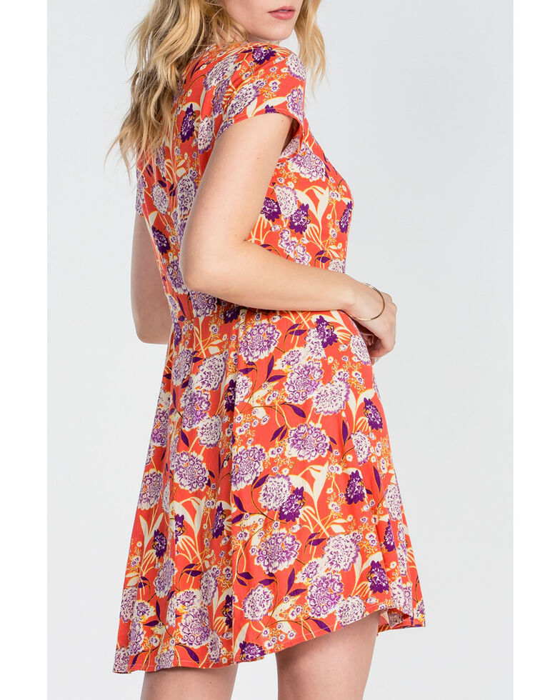 Miss Me Women's Red Lace Up Floral Dress, Red, hi-res