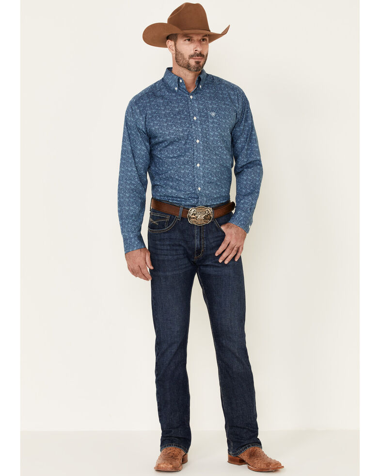 Ariat Men's Wrinkle Free Mallard Floral Print Long Sleeve Western Shirt , Blue, hi-res