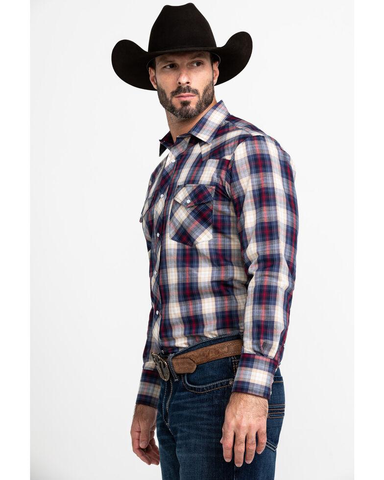 Roper Men's Multi Med Plaid Snap Long Sleeve Western Shirt , Blue, hi-res