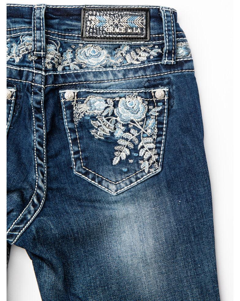 Grace in LA Girls' Floral Bootcut Jeans, Blue, hi-res