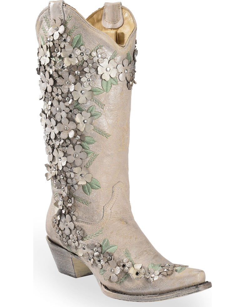 85ebda81484 Corral Women's White Floral Overlay Embroidered Stud and Crystals Cowgirl  Boots - Snip Toe