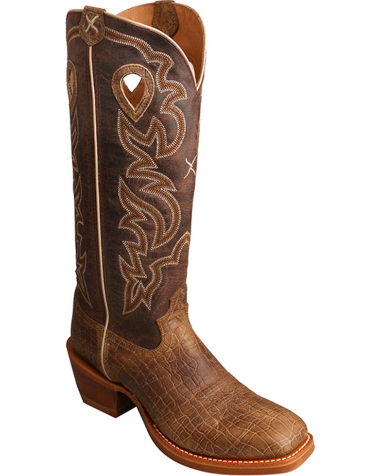 Twisted X Men's Brown Buckaroo Cowboy Boots - Square Toe , Brown, hi-res