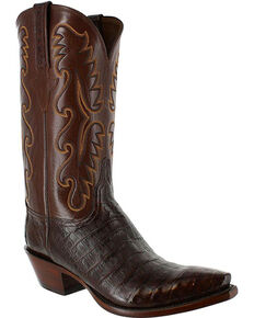 Lucchese Men's Handmade Exotic Sienna Caiman Western Boots - Snip Toe, Brown, hi-res