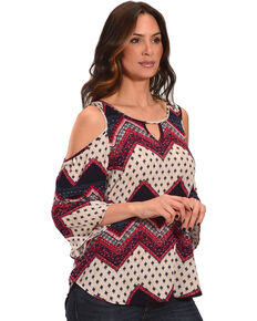 Ivory Love Women's Western Print Cold Shoulder Top, Multi, hi-res
