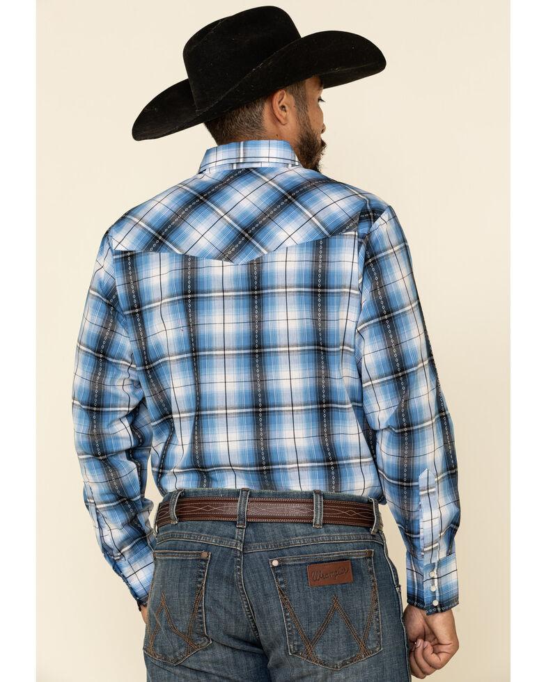 Ely Walker Men's Blue Dobby Plaid Long Sleeve Western Shirt, Blue, hi-res