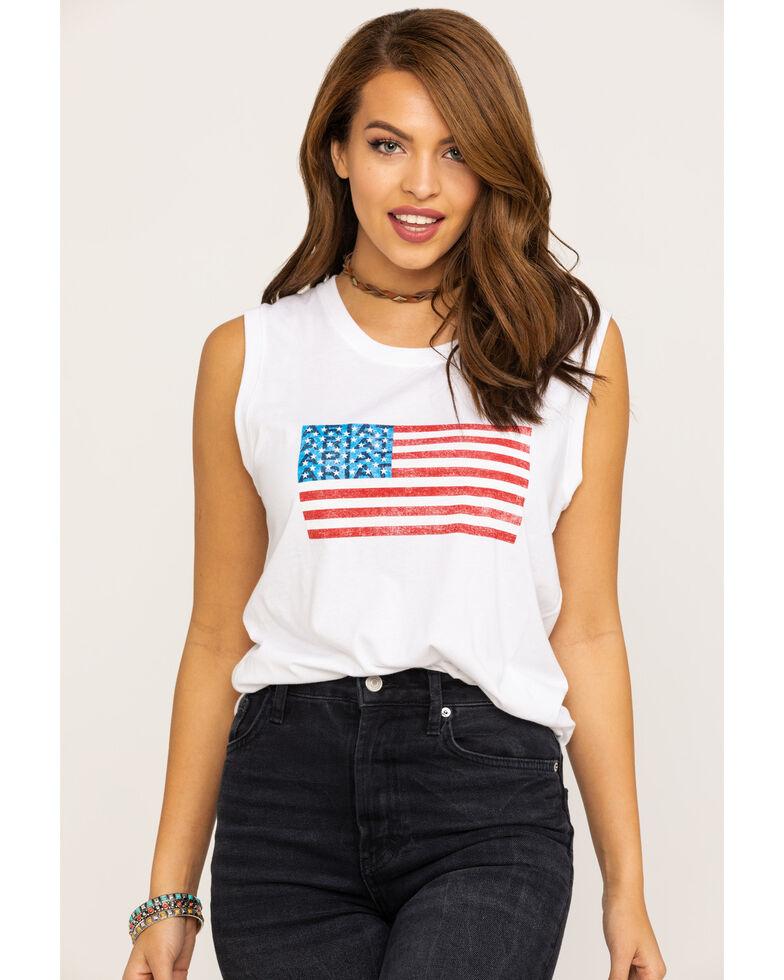 Ariat Women's White American Flag Tank Top, White, hi-res