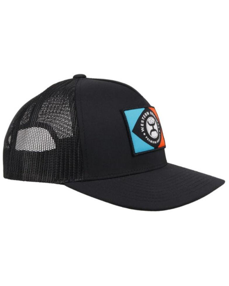 HOOey Men's Iris Logo Patch Mesh Back Trucker Cap , Black, hi-res