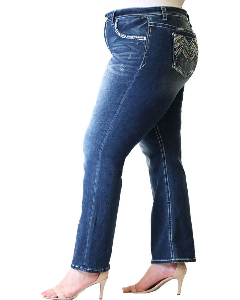 Grace in LA Women's Aztec Pocket Straight Jeans  - Plus, Blue, hi-res