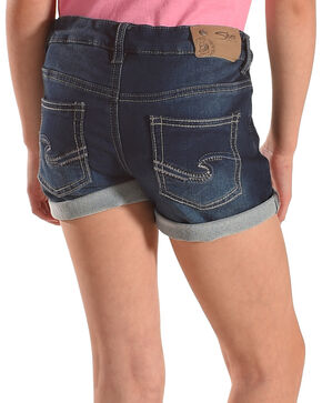 Silver Girls' Lacy Cuffed Hem Denim Shorts, Indigo, hi-res
