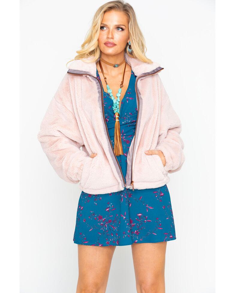 Mystree Women's Solid Zip-Up Fluff Coat , Blush, hi-res