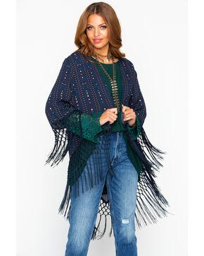 Cowgirl Up Women's Printed Fringe Trim Kimono, Black, hi-res