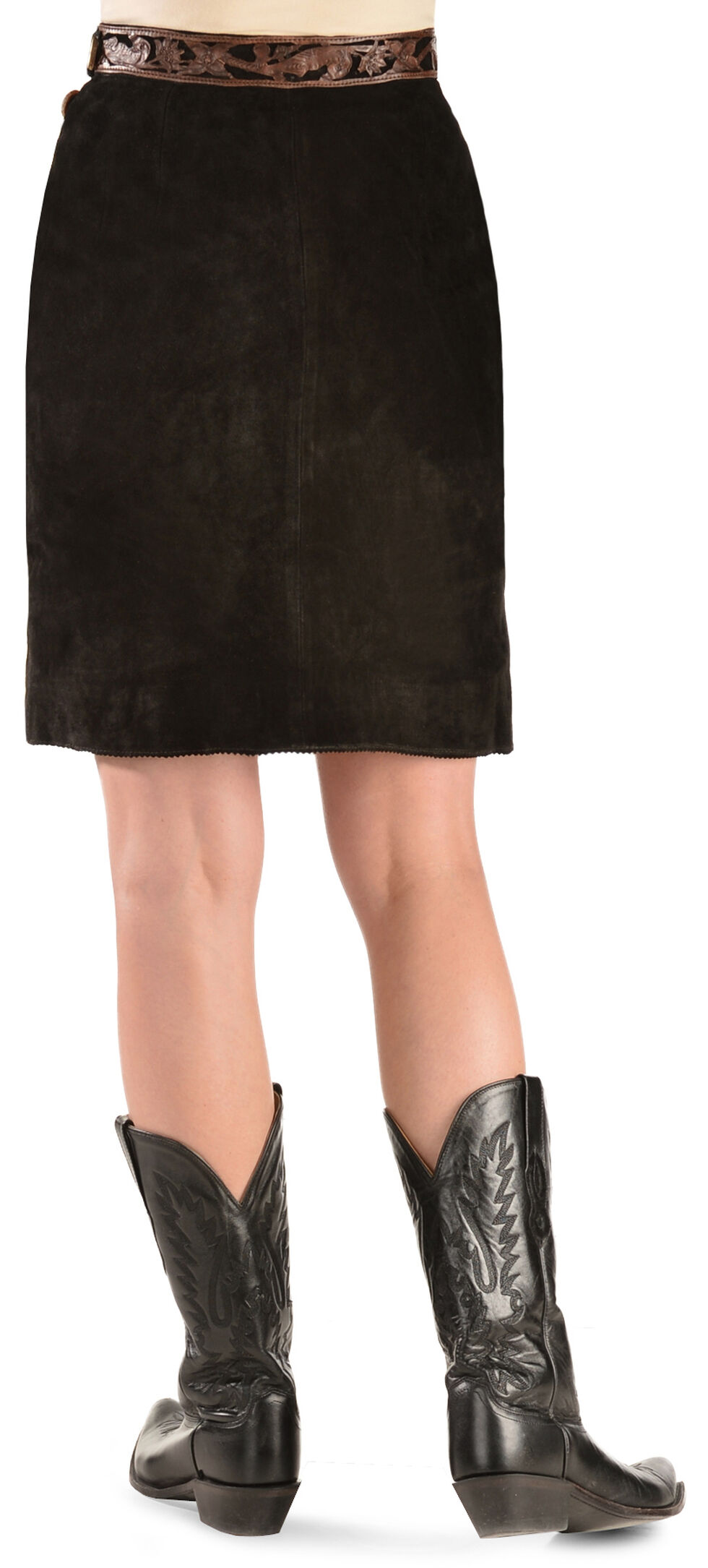 Kobler Leather Women's Tooled Leather & Fringe Sedona Suede Skirt, Black, hi-res