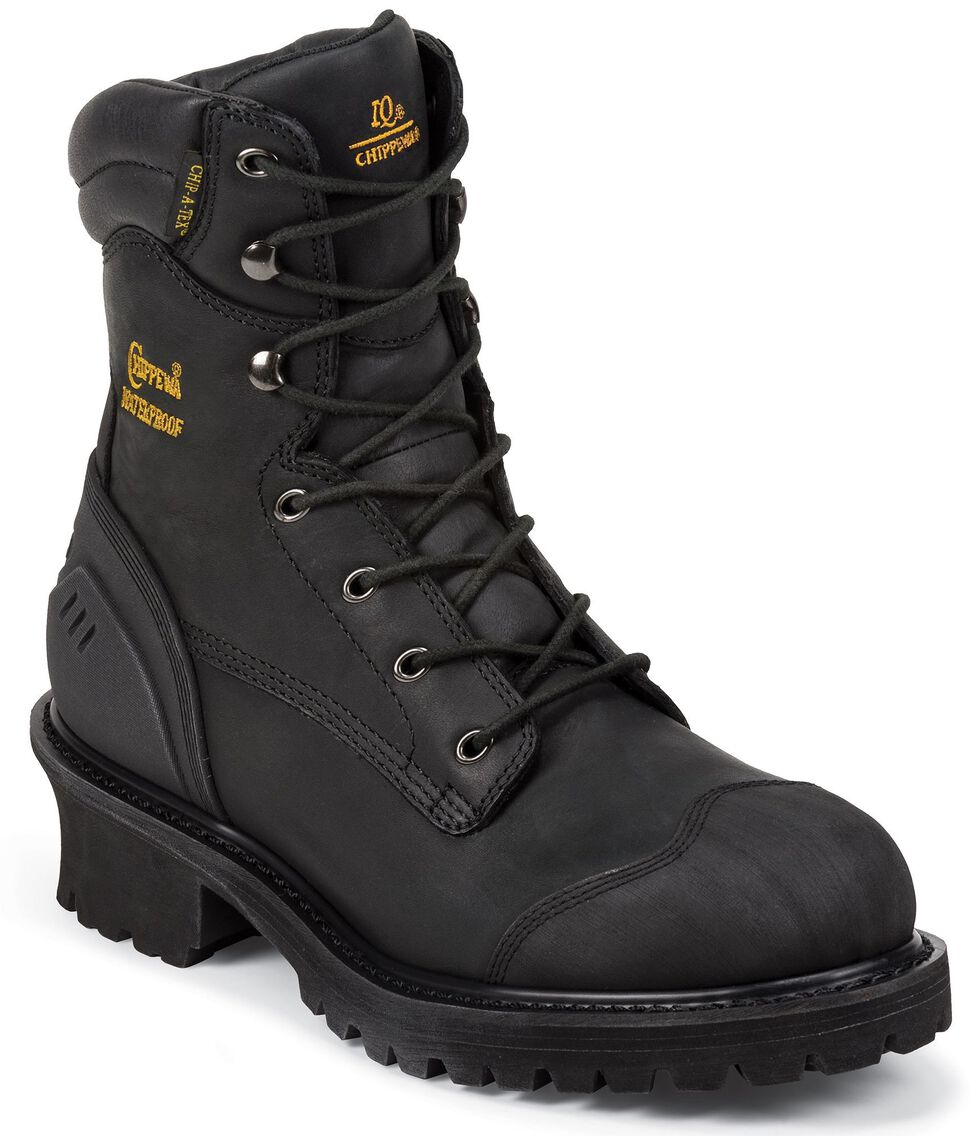 """Chippewa Waterproof & Insulated 8"""" Lace-Up Work Boots - Composite Toe, Black, hi-res"""