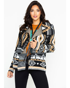 Rock & Roll Cowgirl Women's Camel Aztec Cardigan, Black, hi-res