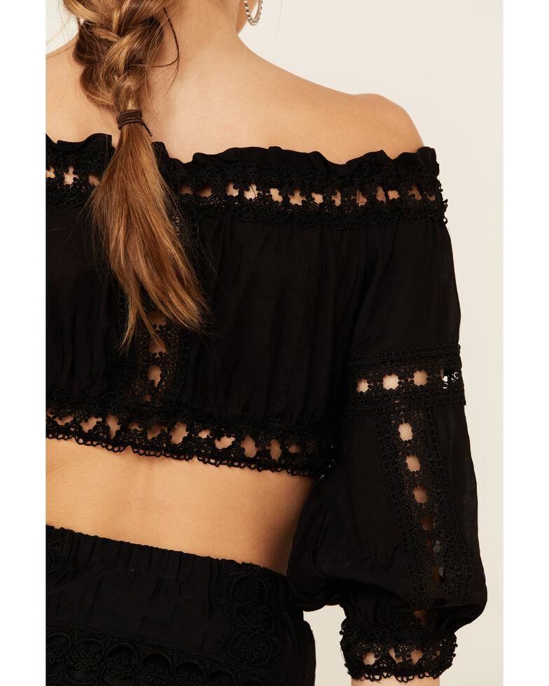 Revel Women's Black Cropped Off Shoulder Crochet Top, Black, hi-res
