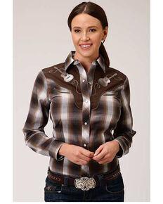Karman Women's Brown Plaid Guitar Embroidered Long Sleeve Western Shirt, Brown, hi-res
